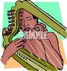 African American Woman Playing a Harp clipart