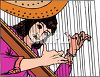 Woman Playing a Harp clipart