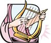 Woman Playing a Lap Harp clipart