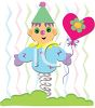 Whimsical Clown Holding a Heart Shaped Balloon clipart