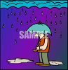 Cartoon of a Man Standing in the Rain with an Umbrella clipart