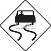 Slippery When Wet Road Sign with Car clipart