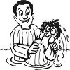 Black and White Cartoon of a Kid Being Baptized clipart