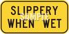 Orange Slippery When Wet Road Sign clipart