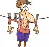 Concept Cartoon of a Man Hung Out to Dry on a Clothesline clipart