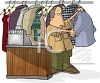 Cartoon of a Man Working at a Dry Cleaners clipart