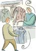 Person Bringing Their Clothes toa Dry Cleaners clipart