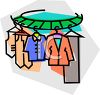 Circular Rack Full of Clothes at a Dry Cleaners clipart