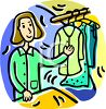 Woman Working at a Dry Cleaners clipart