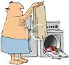 Naked Fat Man Removing His Clothes from the Dryer clipart