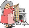 Old Lady Taking Clothes Out of a Dryer clipart