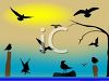Water Birds at Sunset on the Ocean clipart