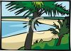 Palm Trees on a Beach clipart