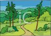 Dirt Road Winding Through the Mountains clipart