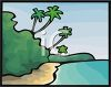 Palm Trees Leaning Over the Beach and Ocean clipart