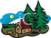 Cabin in the Woods with Pine Trees clipart