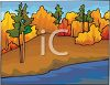 Autumn Trees Along a River clipart