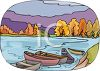 Boats in a Lake Surrounded by Autumn Trees clipart