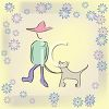 Boy and His Dog Background clipart