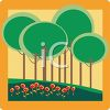 Simple Trees in a Park with Flowers Background clipart