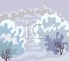 Snow Covered Bushes and Trees clipart