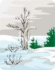 Bare Tree in the Snow with Pine Trees in the Background clipart