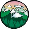 Snow Capped Mountains in a Circular Icon clipart