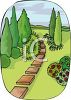 Stepping Stones Leading Through a Garden clipart