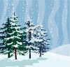Snow Falling on Pine Trees in the Wilderness clipart