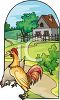 Rooster, Hen and a Farm Icon clipart
