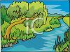 Weeping Willow Hanging Over a River clipart