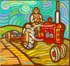 Farmer Riding a Tractor on His Farm clipart