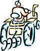 Outline of a Farmer Riding a Tractor clipart