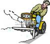 Man on a Riding Snow Blower clipart