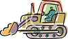 Moving Soil with a Bulldozer clipart