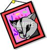 Cartoon Framed Picture of a Pet Cat clipart