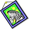 Cartoon Framed Picture of a Zebra clipart