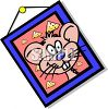 Cartoon Framed Picture of a Mouse with Cheese clipart