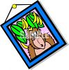 Cartoon Framed Picture of a Monkey with Bananas clipart