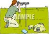 Wildlife Photographer Shooting with a Telescopic Lens clipart