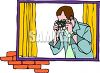 Man Taking a Picture Through a Window clipart