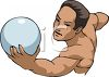 Man Playing Volleyball at the Beach clipart