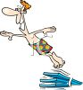Cartoon of a Happy Guy Jumping Off a Diving Board clipart