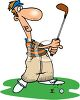 Cartoon of a Man Playing Golf clipart