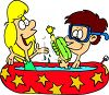 Summer Cartoon of Kids in an Inflatable Raft clipart
