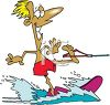 Summer Cartoon of a Guy Showing Off on Water Skis clipart