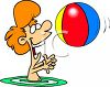 Summer Cartoon of a Red Haired Boy Playing with a Ball in a Pool clipart