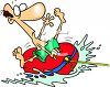 Summer Cartoon of a Scared Guy Riding in a Raft clipart