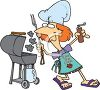 Summer Cartoon of a Mom Grilling in the Backyard clipart