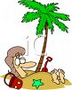 Summer Cartoon of a Woman Buried in the Sand Under a Palm Tree clipart